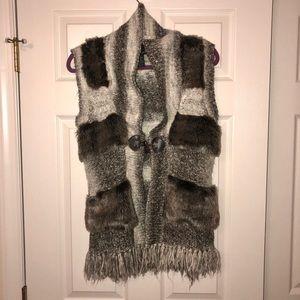 Cynthia Rowley Fur/Fringe Vest, Size Small